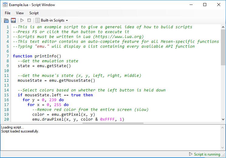 Script Window :: Mesen Documentation